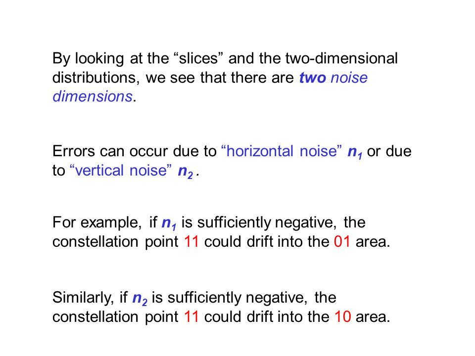 By looking at the slices and the two-dimensional distributions, we see that there are two noise dimensions.