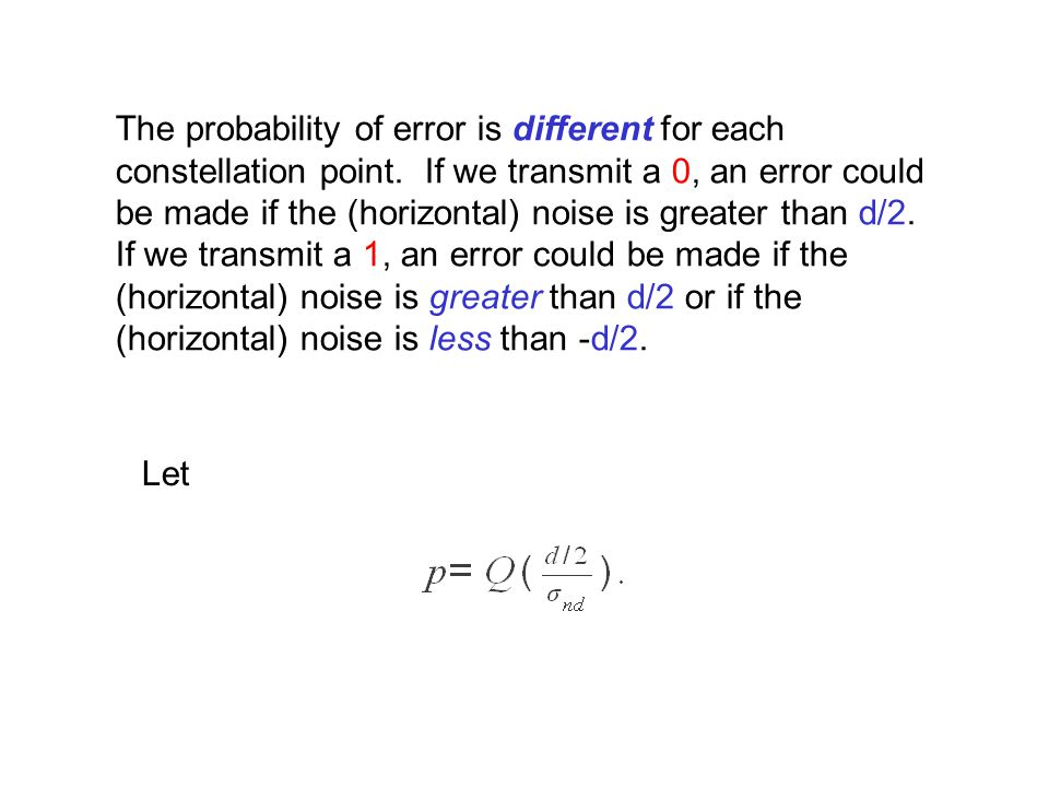 The probability of error is different for each constellation point