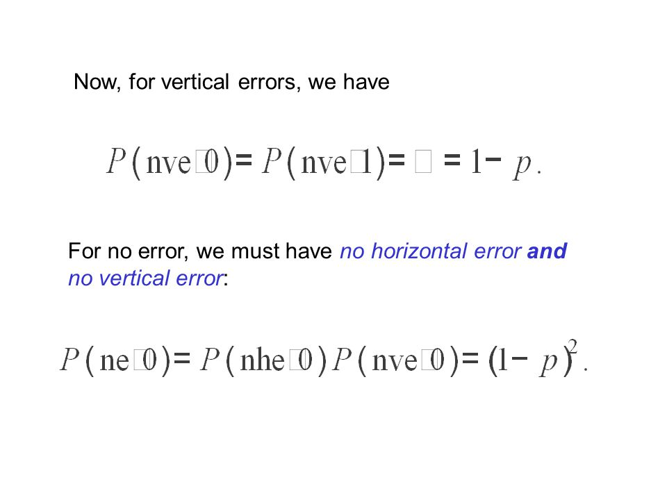 Now, for vertical errors, we have