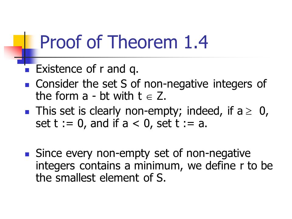Proof of Theorem 1.4 Existence of r and q.