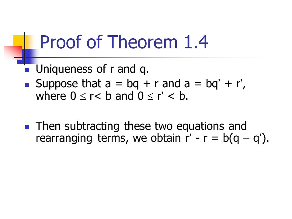 Proof of Theorem 1.4 Uniqueness of r and q.