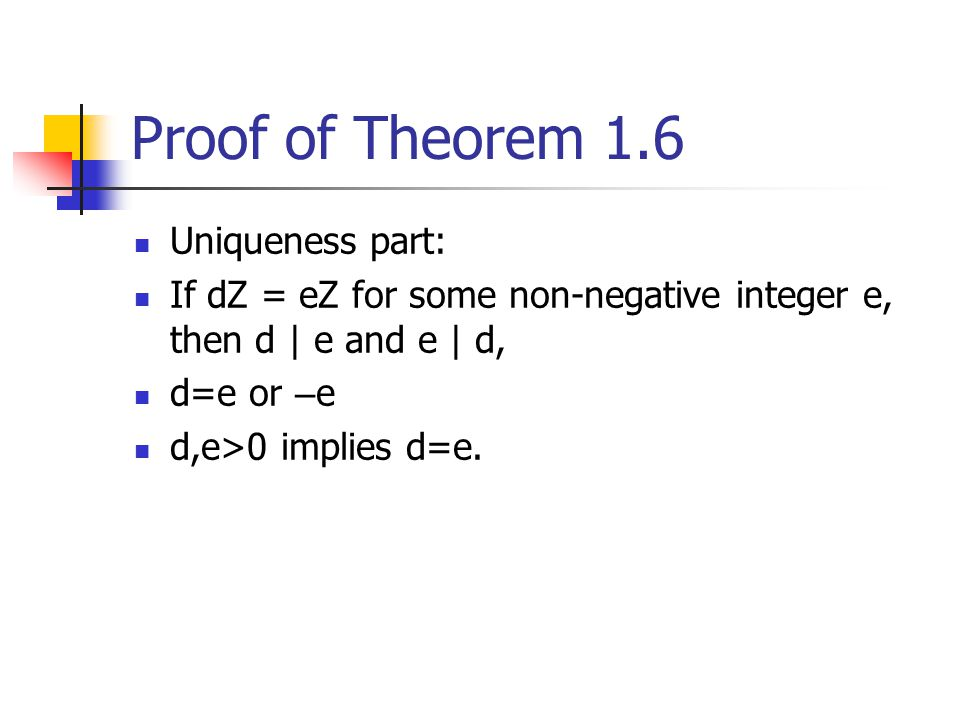 Proof of Theorem 1.6 Uniqueness part: