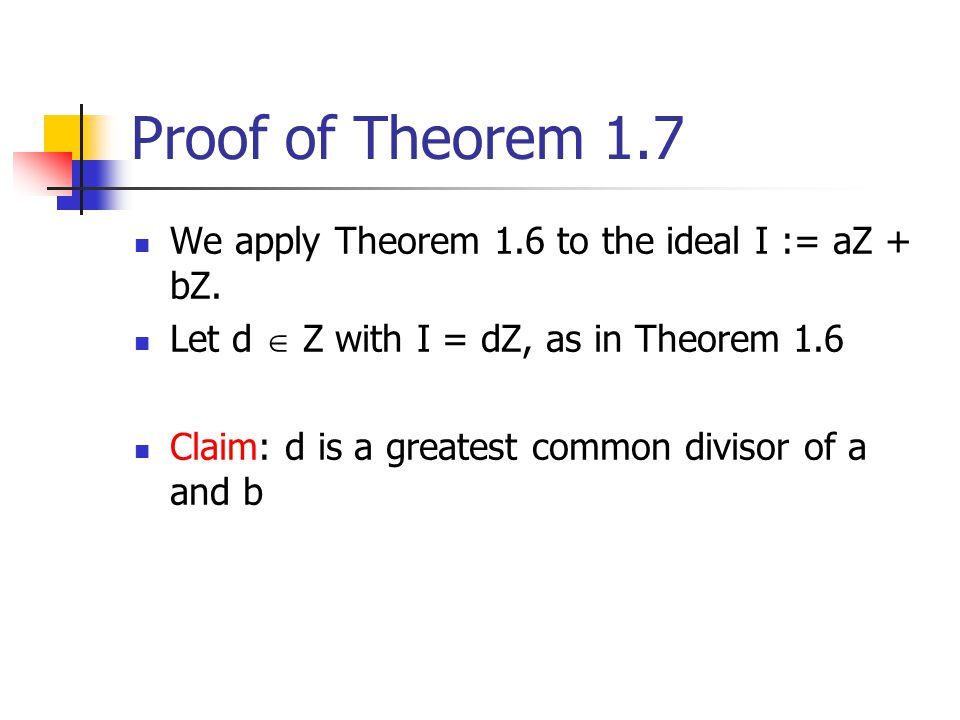 Proof of Theorem 1.7 We apply Theorem 1.6 to the ideal I := aZ + bZ.