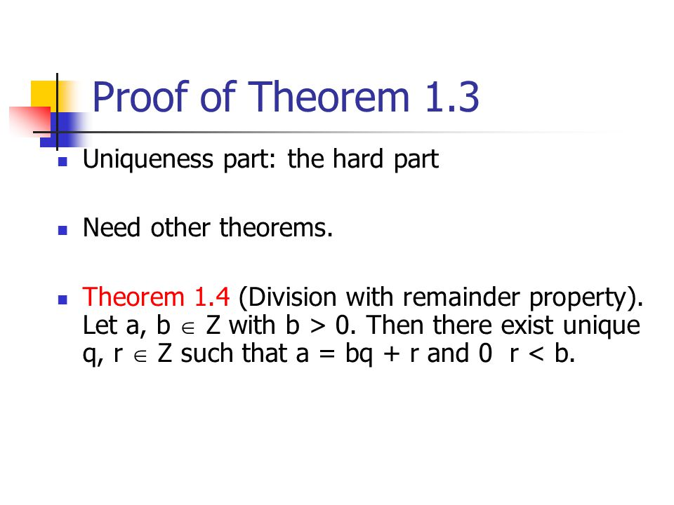 Proof of Theorem 1.3 Uniqueness part: the hard part