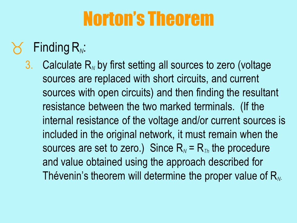 Norton's Theorem Finding RN: