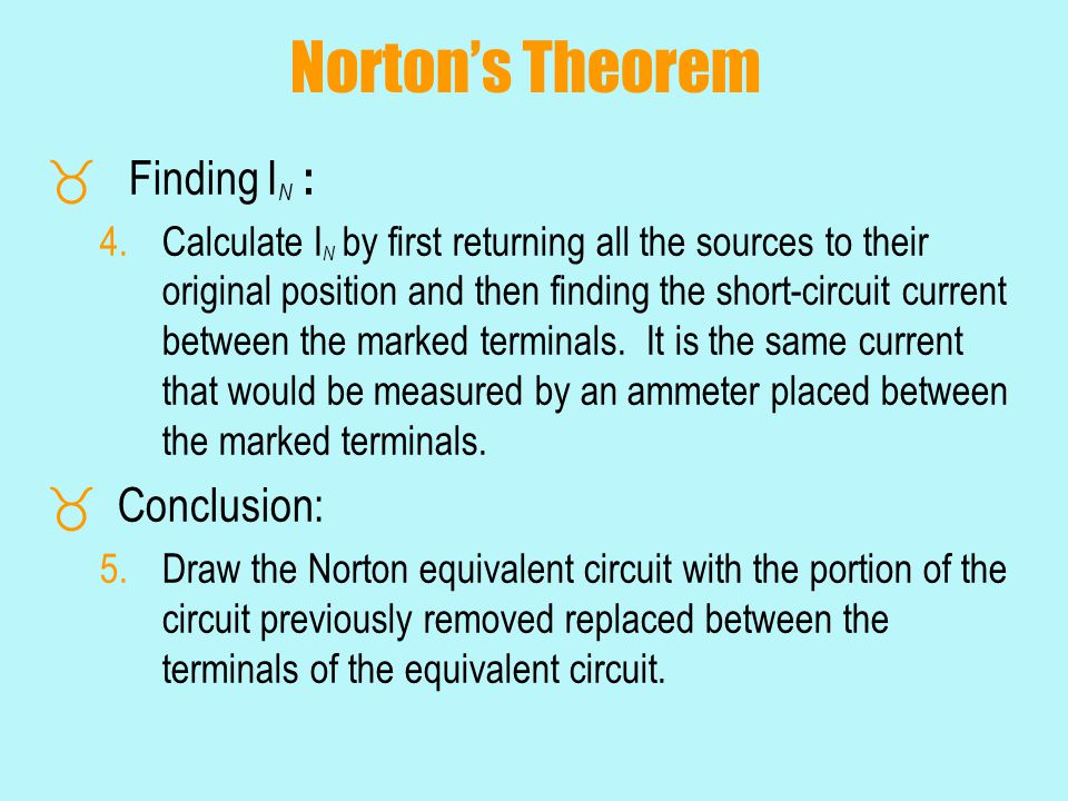 Norton's Theorem Finding IN : Conclusion: