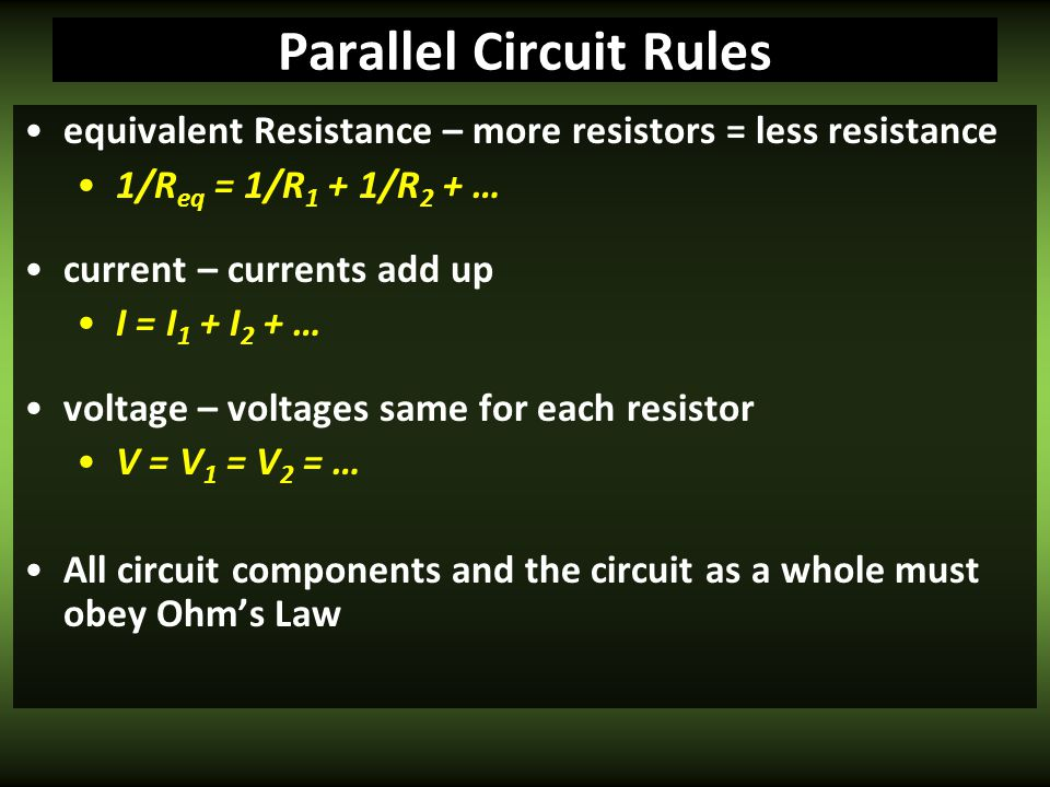 Parallel Circuit Rules