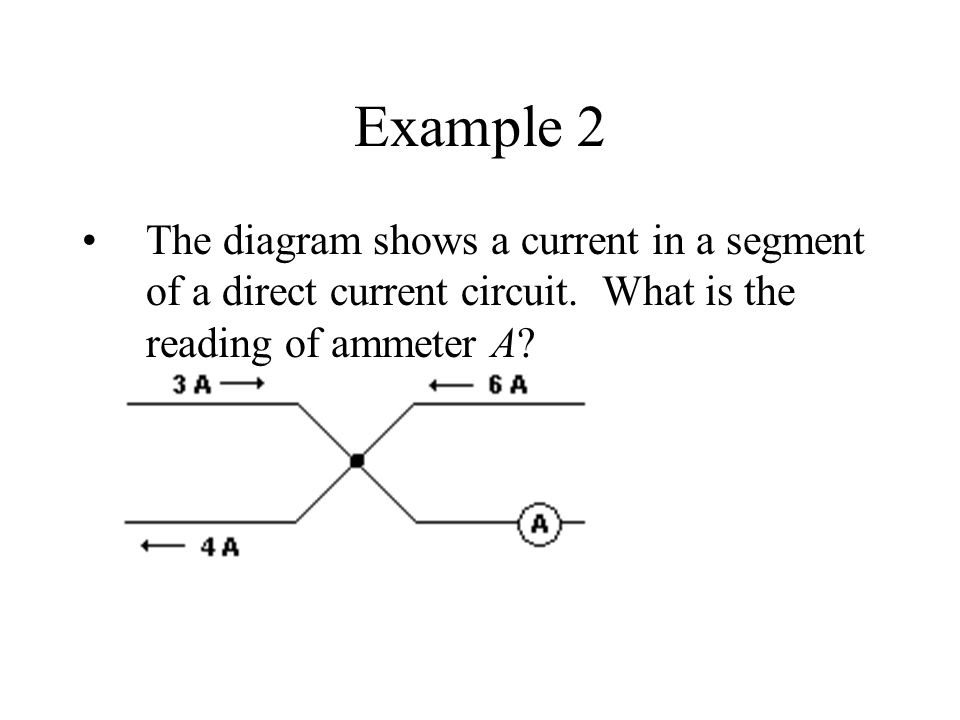 Example 2 The diagram shows a current in a segment of a direct current circuit.