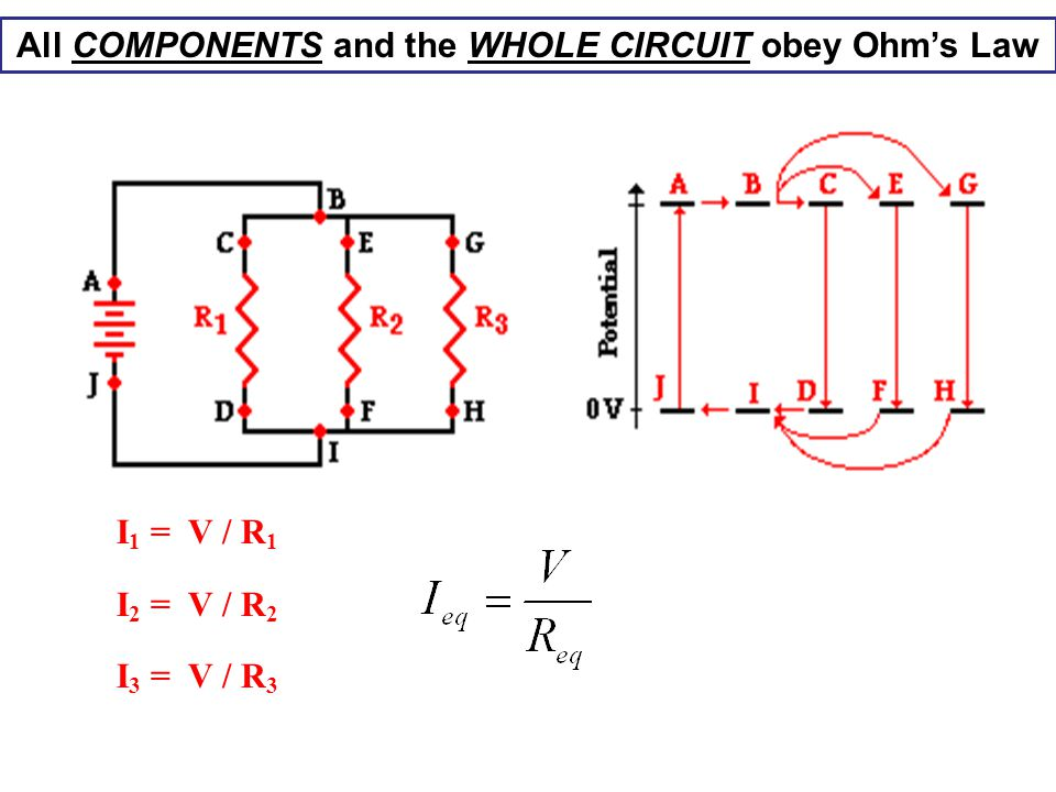 All COMPONENTS and the WHOLE CIRCUIT obey Ohm's Law