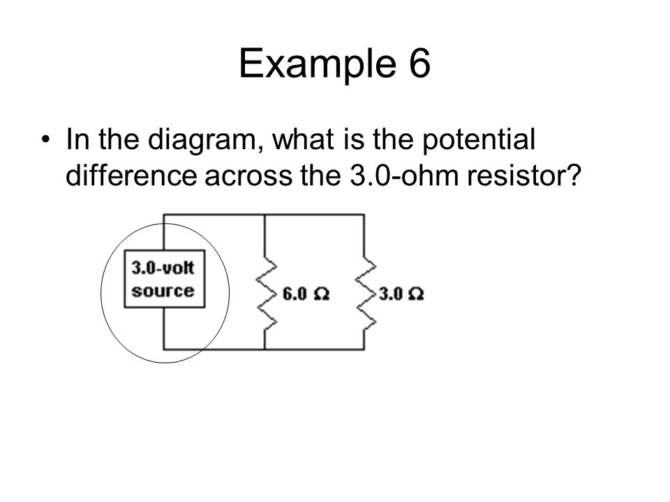 Example 6 In the diagram, what is the potential difference across the 3.0-ohm resistor