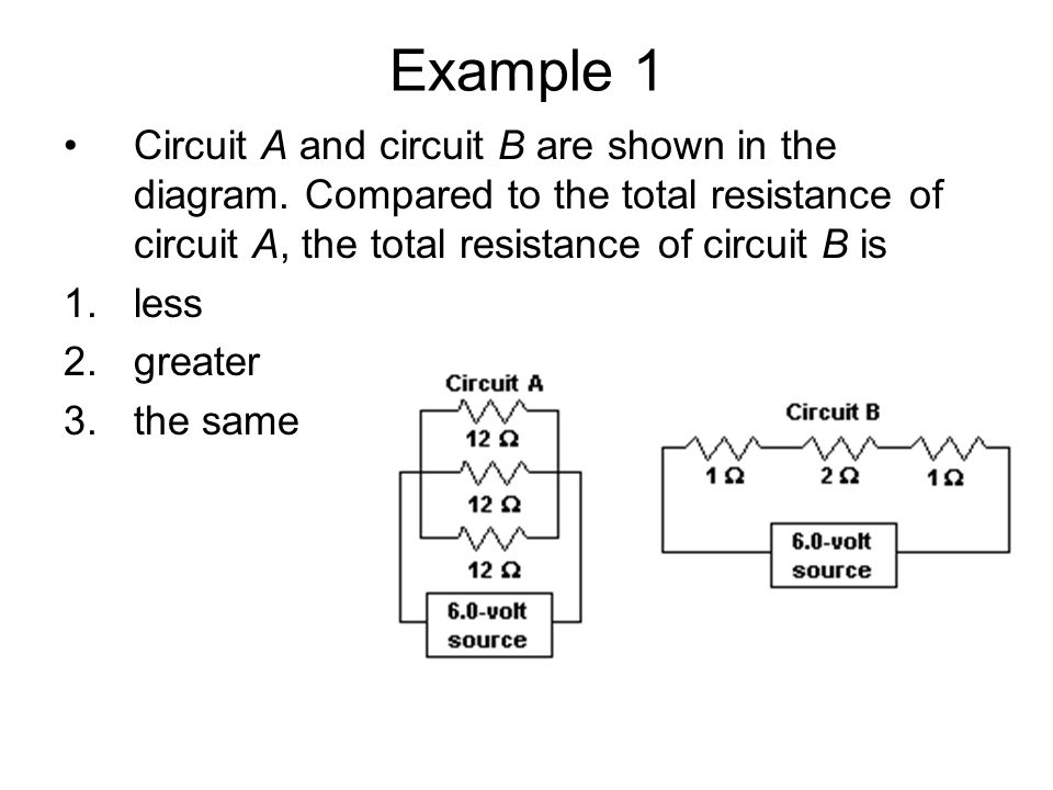 Example 1 Circuit A and circuit B are shown in the diagram. Compared to the total resistance of circuit A, the total resistance of circuit B is.