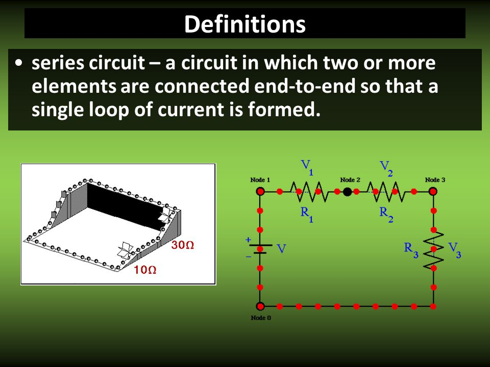 Definitions series circuit – a circuit in which two or more elements are connected end-to-end so that a single loop of current is formed.