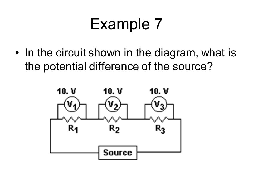 Example 7 In the circuit shown in the diagram, what is the potential difference of the source