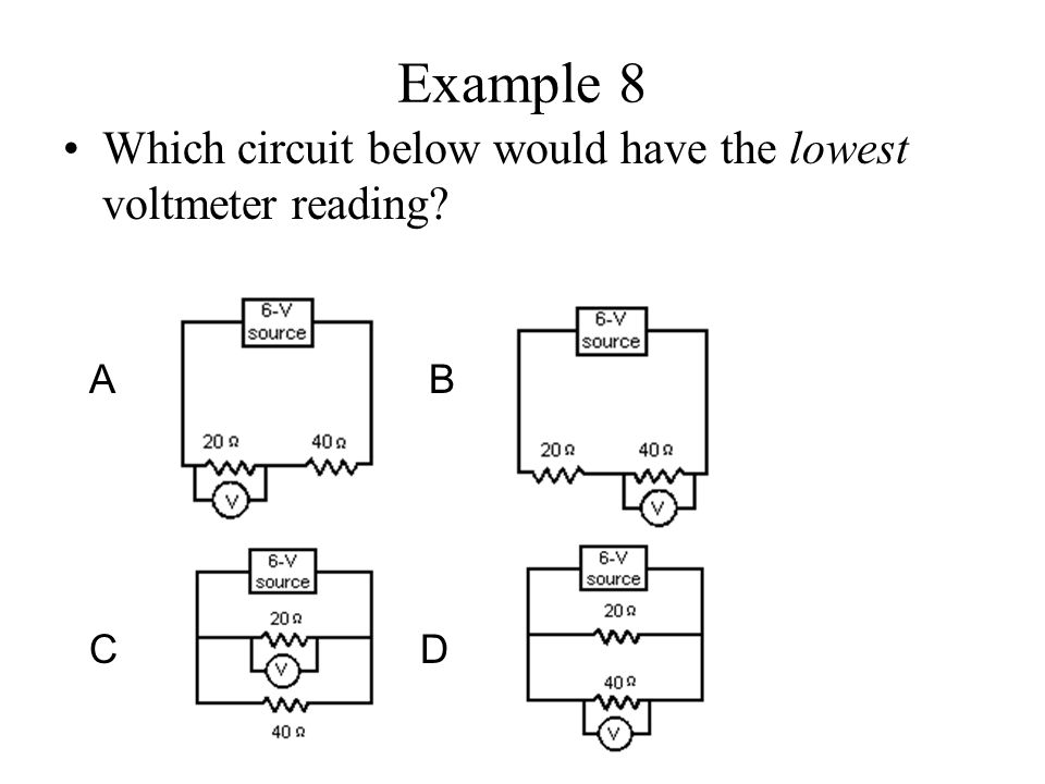 Example 8 Which circuit below would have the lowest voltmeter reading