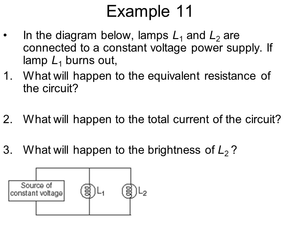 Example 11 In the diagram below, lamps L1 and L2 are connected to a constant voltage power supply. If lamp L1 burns out,