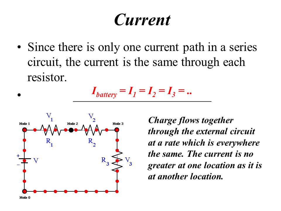 Current Since there is only one current path in a series circuit, the current is the same through each resistor.
