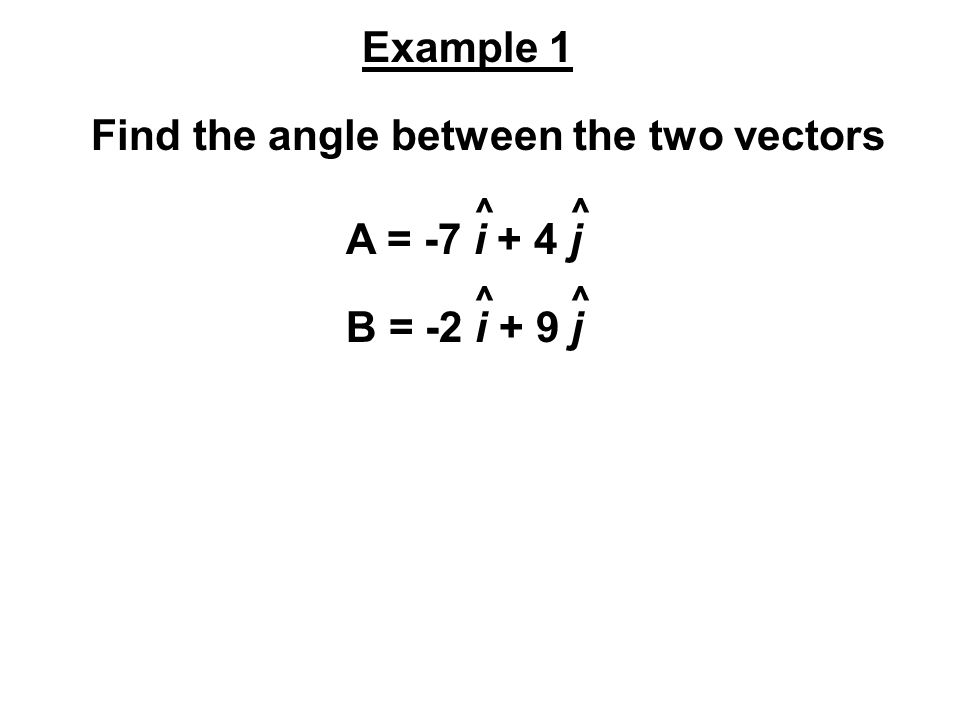 Find the angle between the two vectors