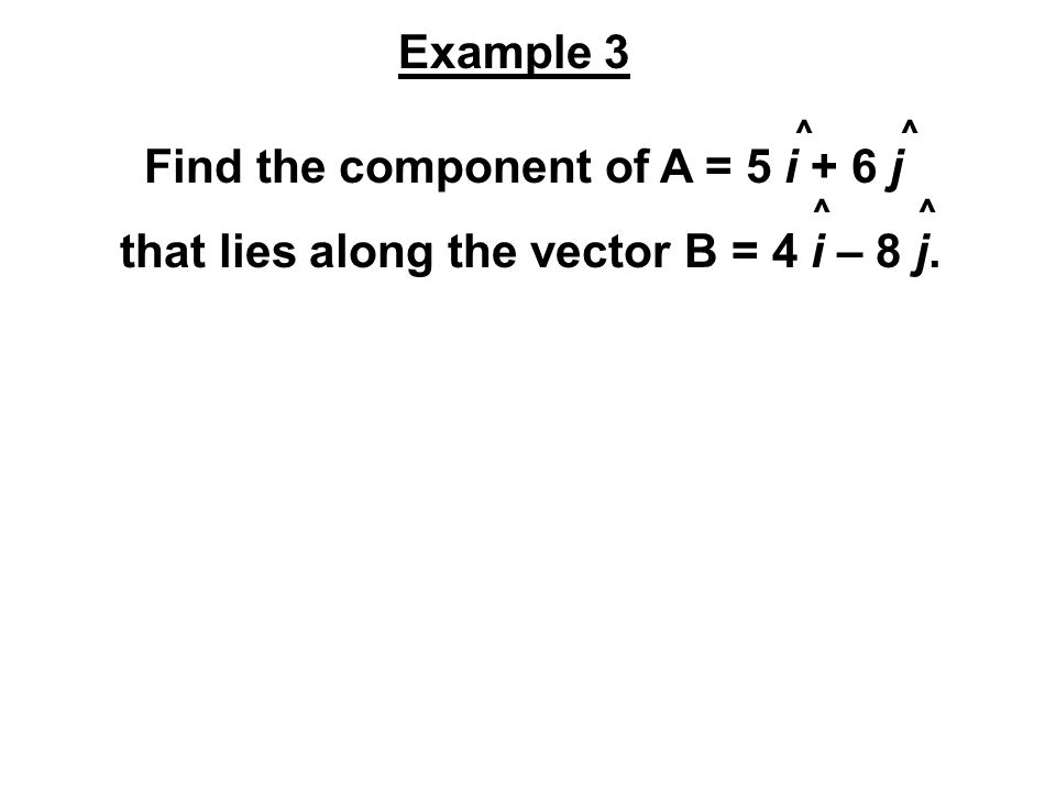 Find the component of A = 5 i + 6 j