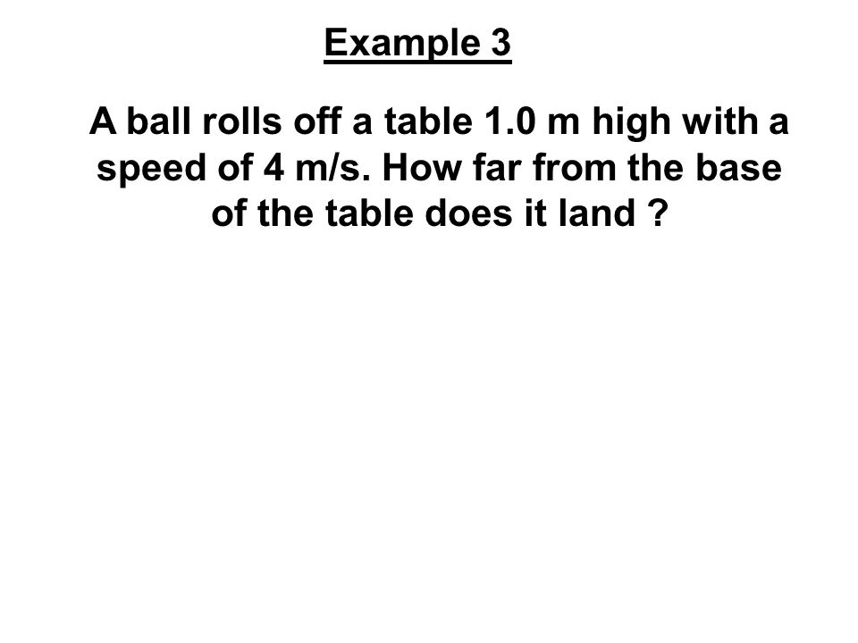 Example 3 A ball rolls off a table 1.0 m high with a speed of 4 m/s.
