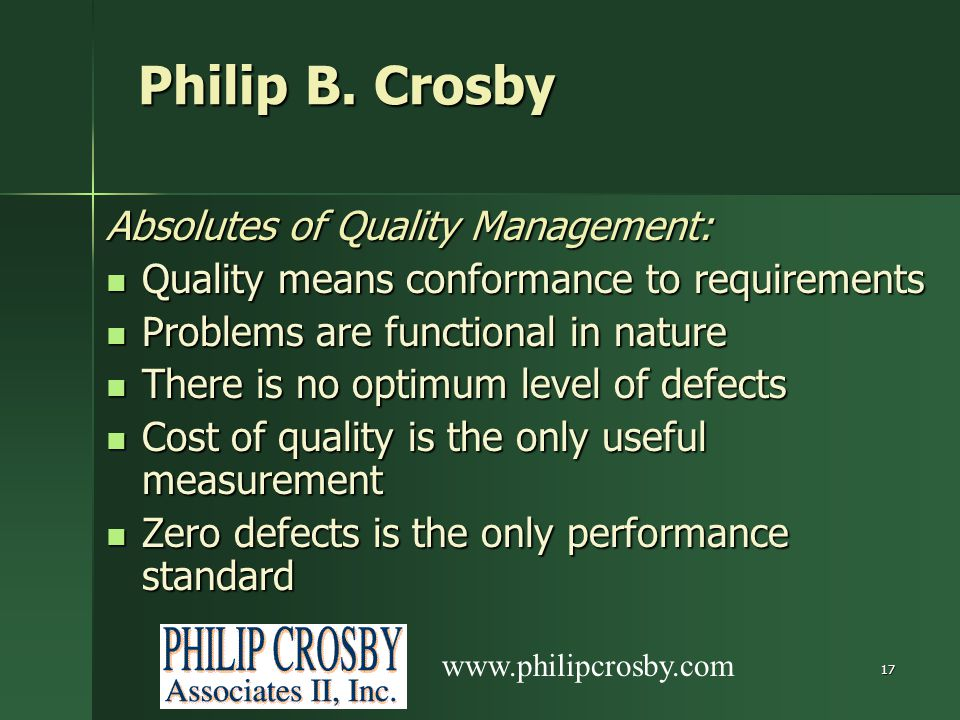 Philip B. Crosby Absolutes of Quality Management: