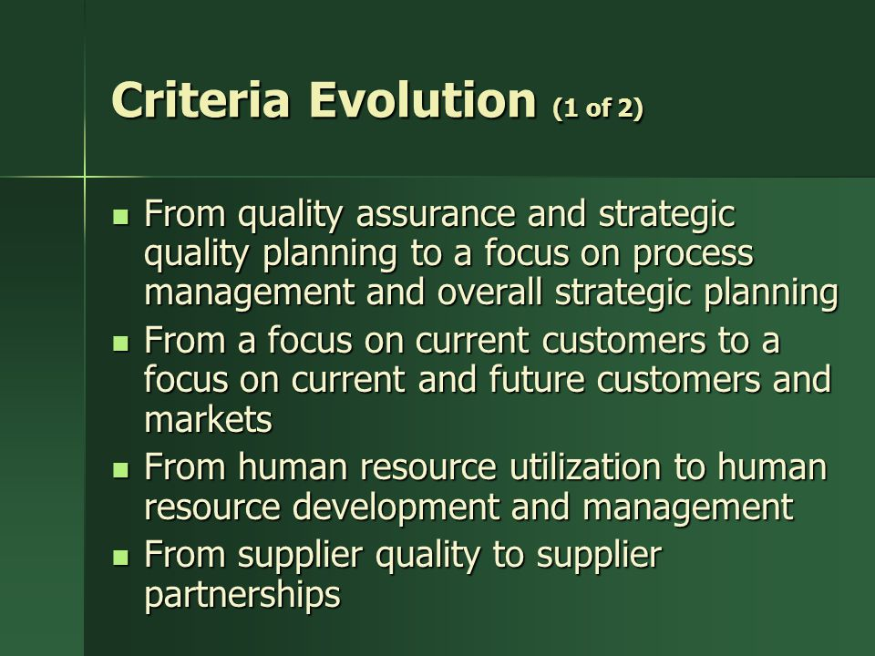 Criteria Evolution (1 of 2)