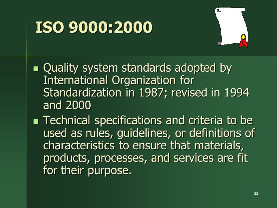 ISO 9000:2000 Quality system standards adopted by International Organization for Standardization in 1987; revised in 1994 and