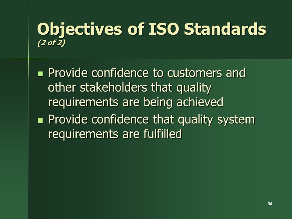Objectives of ISO Standards (2 of 2)