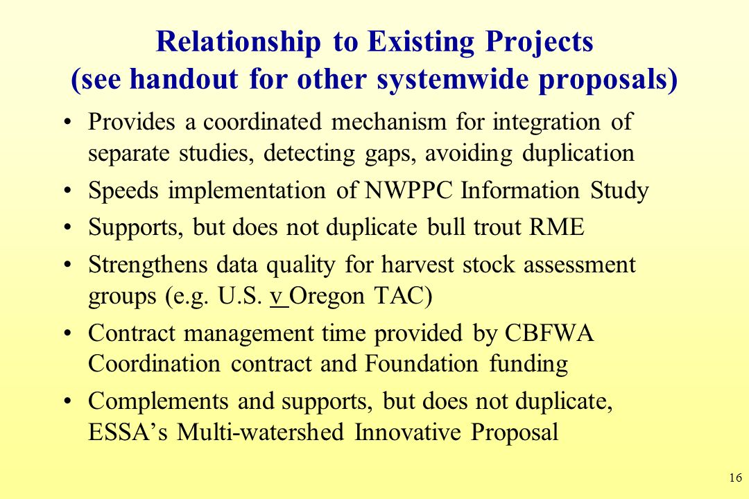 Relationship to Existing Projects (see handout for other systemwide proposals)