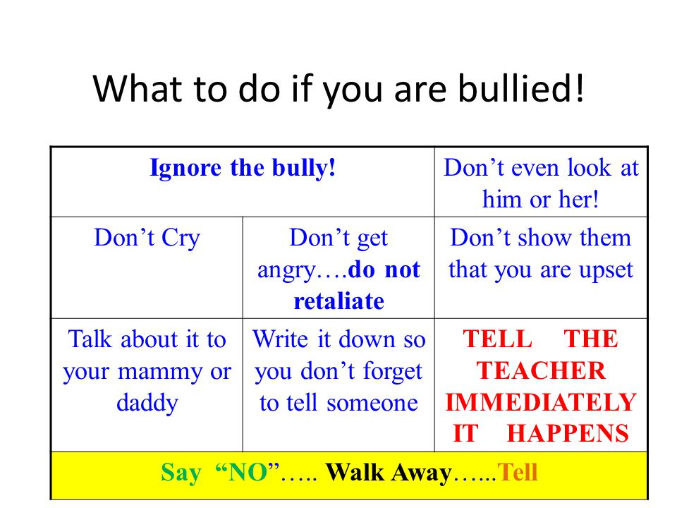 What to do if you are bullied!