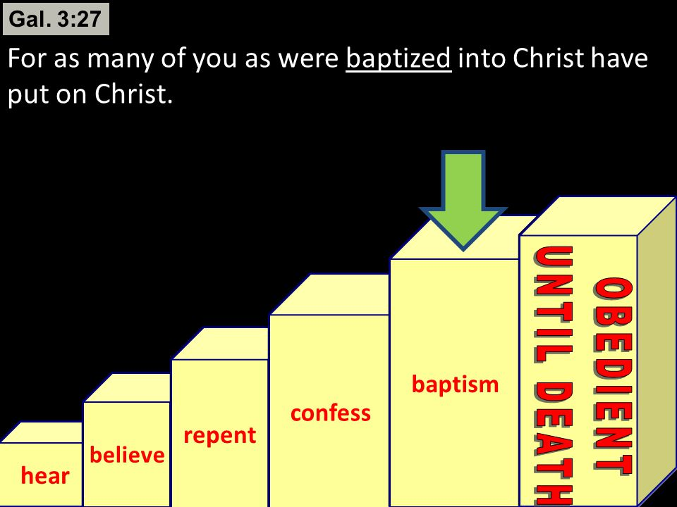 Gal. 3:27 For as many of you as were baptized into Christ have put on Christ. baptism. confess. repent.