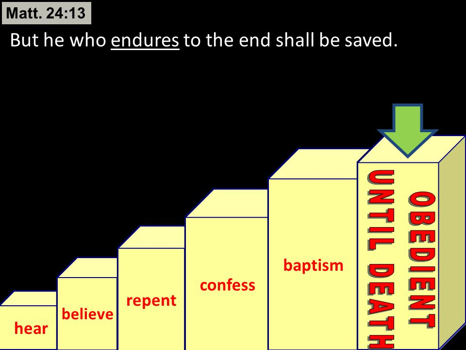 UNTIL DEATH OBEDIENT But he who endures to the end shall be saved.