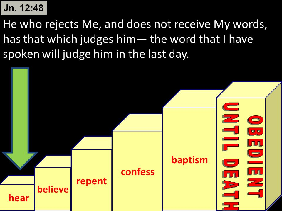 Jn. 12:48 He who rejects Me, and does not receive My words, has that which judges him— the word that I have spoken will judge him in the last day.