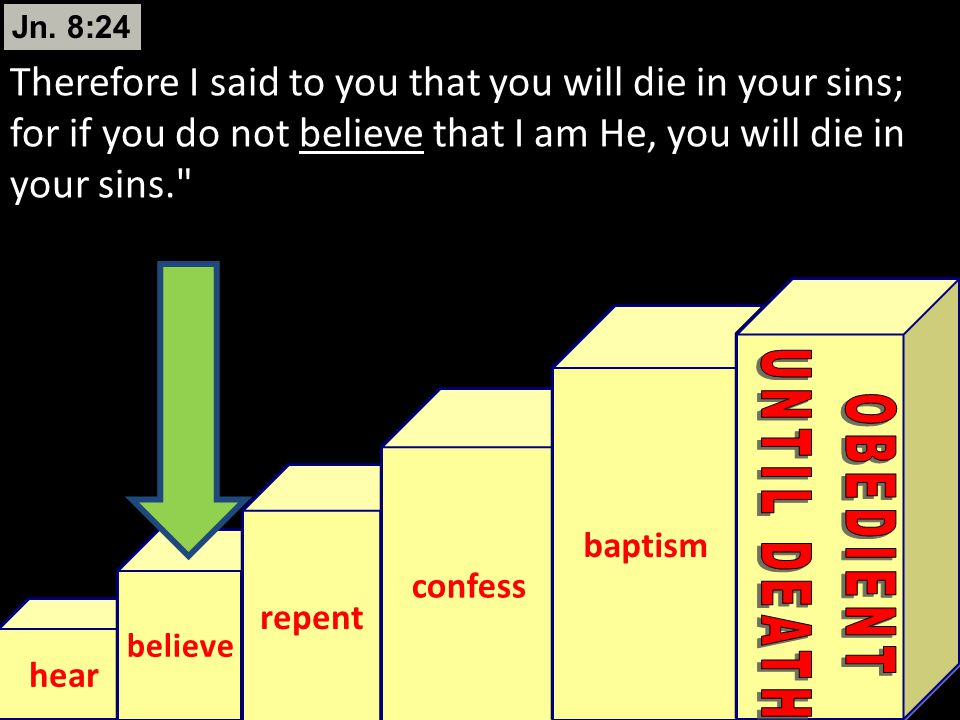 Jn. 8:24 Therefore I said to you that you will die in your sins; for if you do not believe that I am He, you will die in your sins.