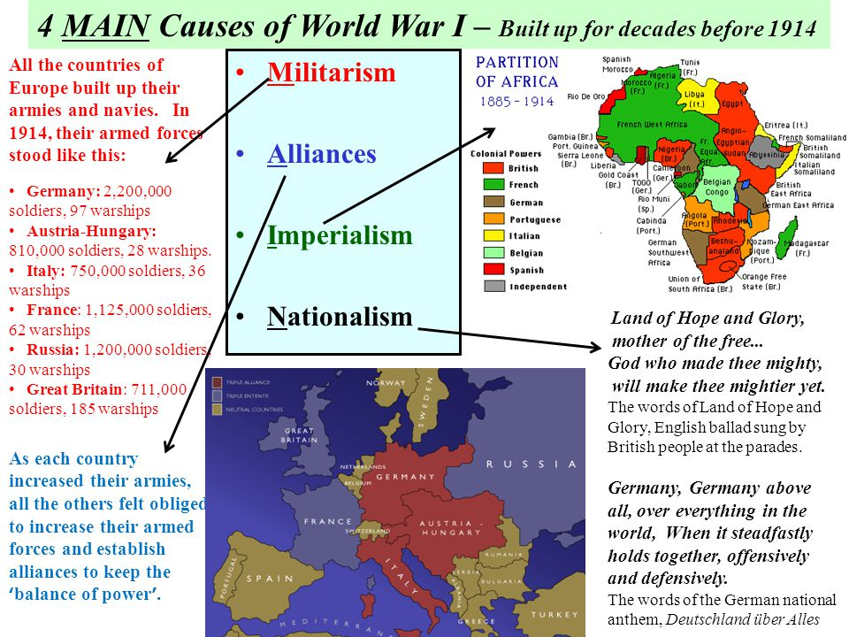 nationality and ethnicity as causes for first world war World war one started on the 28th of july 1914 between two sides triple alliance and the triple entente the war started mainly because of four aspects: militarism, alliances, imperialism and nationalism this is because big armies become potential threats to other countries, other countries.