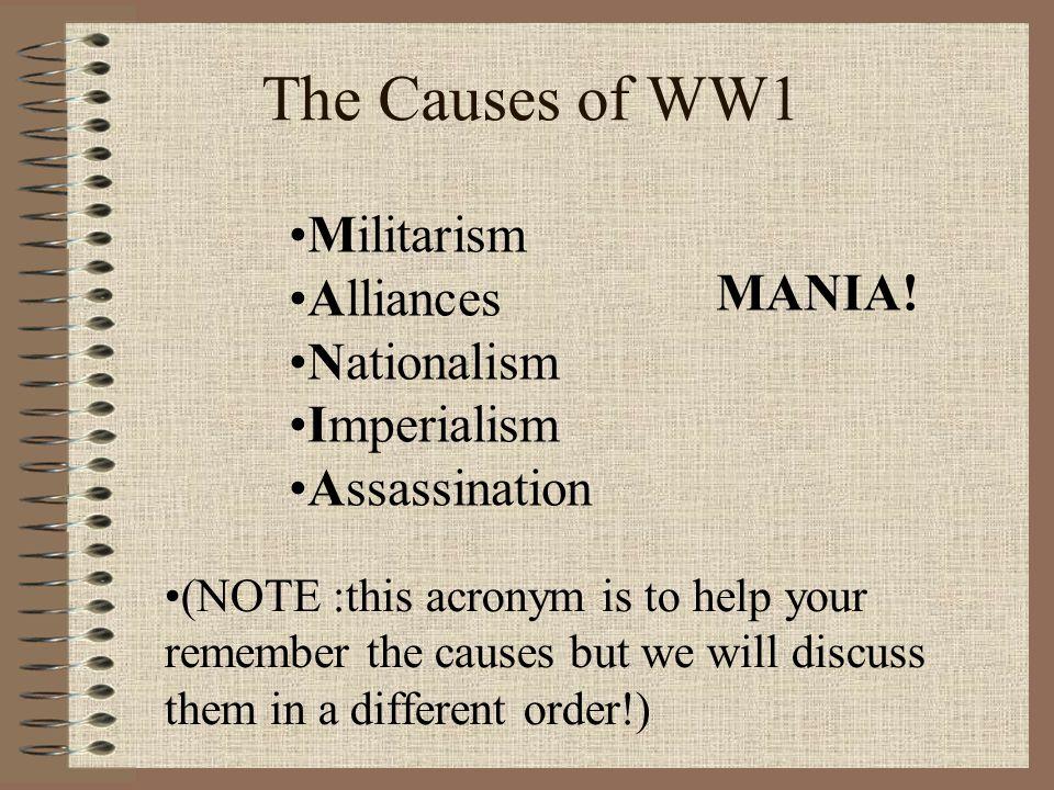 The Causes of WW1 Militarism Alliances MANIA! Nationalism Imperialism