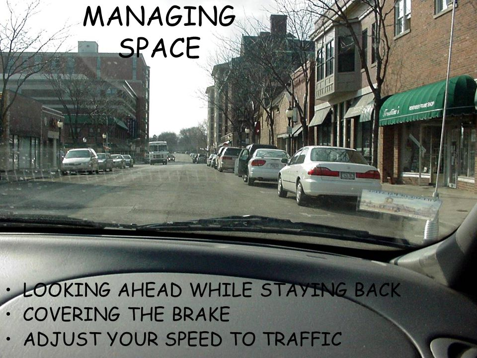 MANAGING SPACE LOOKING AHEAD WHILE STAYING BACK COVERING THE BRAKE