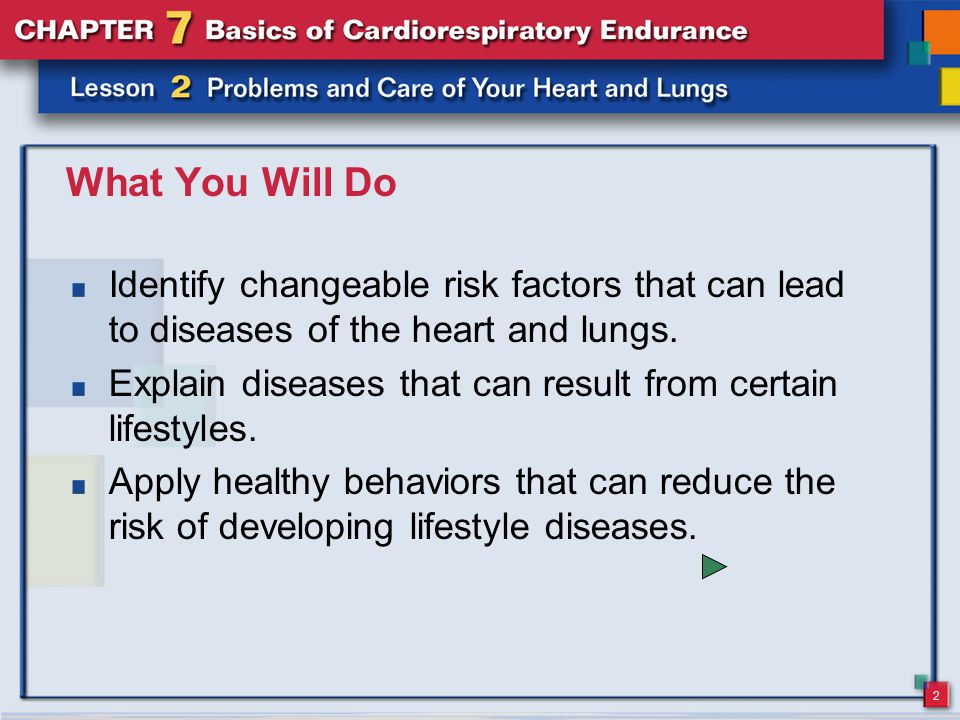 What You Will Do Identify changeable risk factors that can lead to diseases of the heart and lungs.