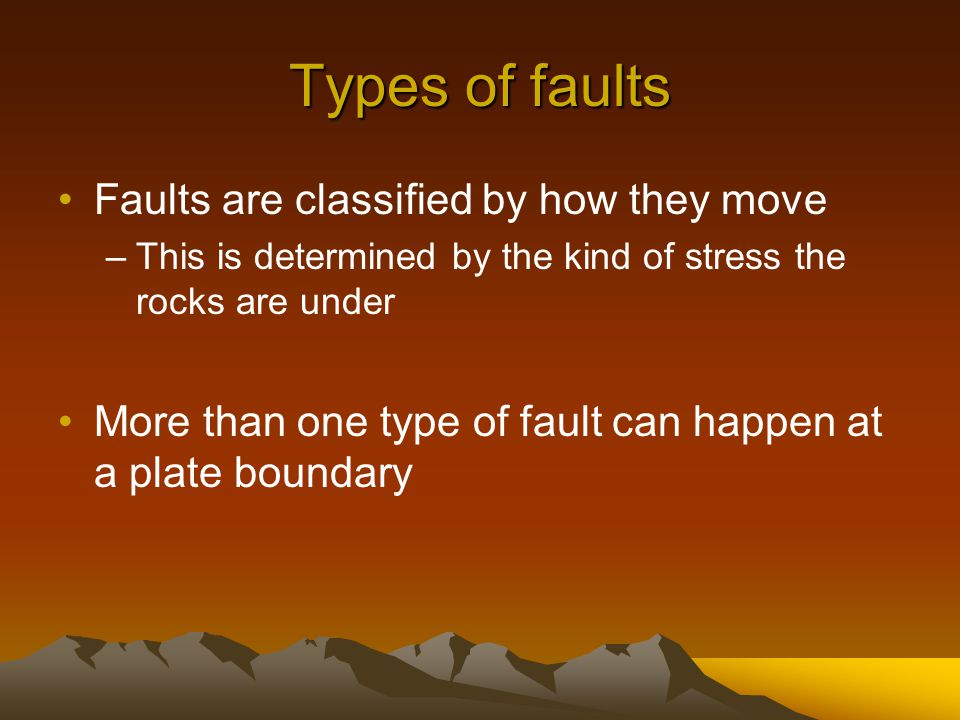 Types of faults Faults are classified by how they move