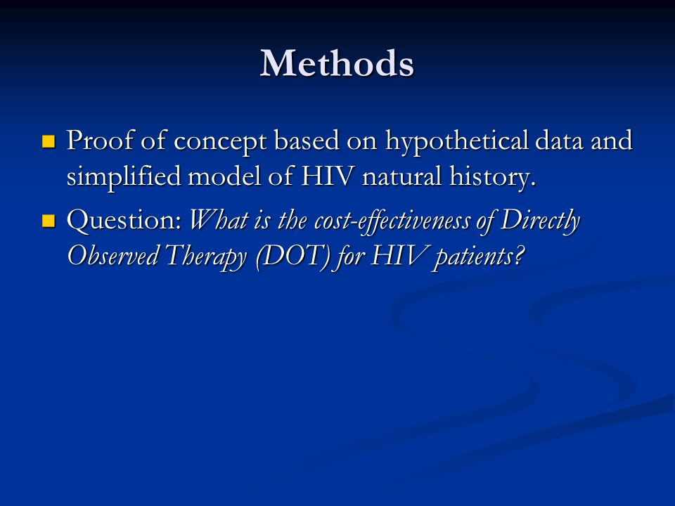 Methods Proof of concept based on hypothetical data and simplified model of HIV natural history.