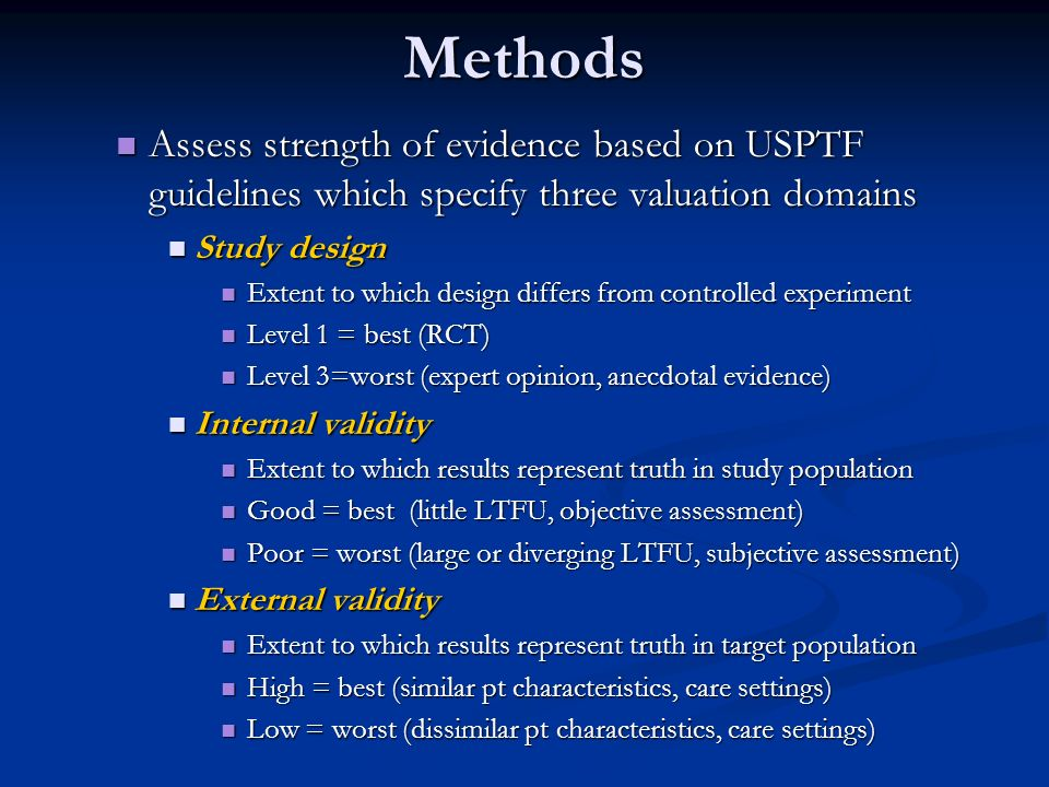Methods Assess strength of evidence based on USPTF guidelines which specify three valuation domains.