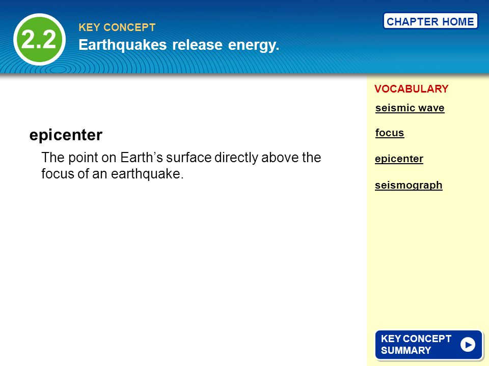 2.2 epicenter Earthquakes release energy.