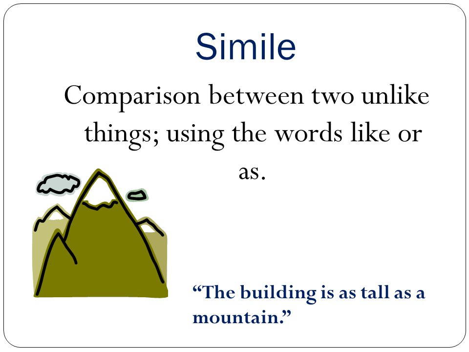 Comparison between two unlike things; using the words like or as.