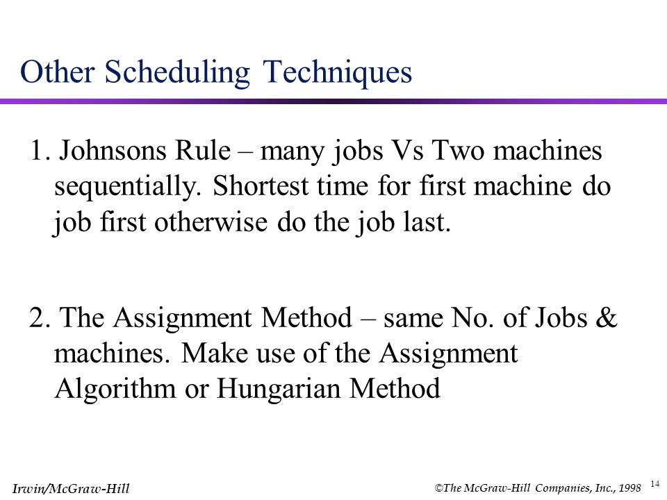 Other Scheduling Techniques