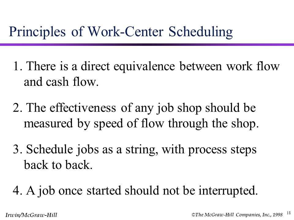 Principles of Work-Center Scheduling