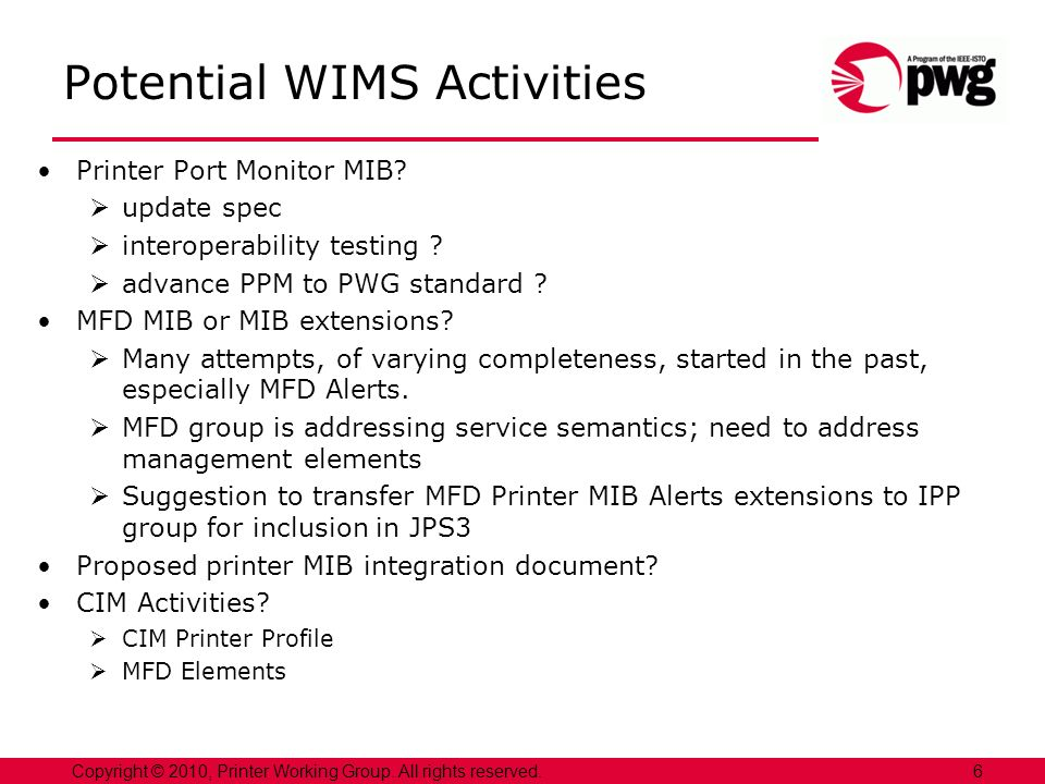 Potential WIMS Activities