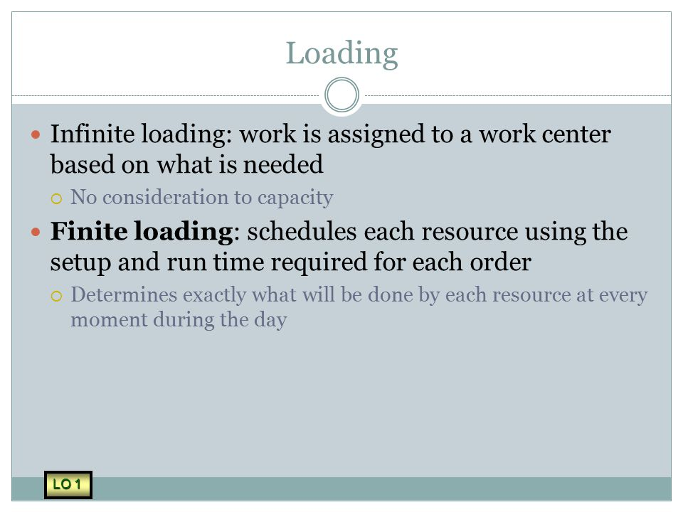 Loading Infinite loading: work is assigned to a work center based on what is needed. No consideration to capacity.