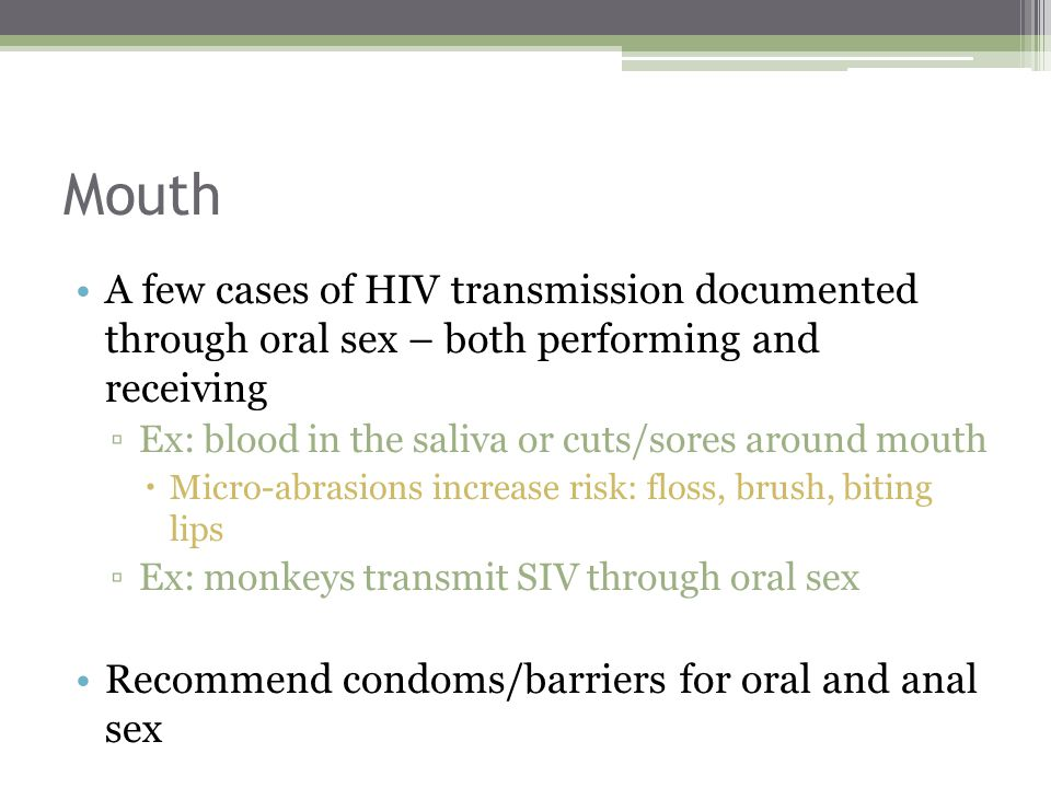 Performing oral sex hiv risk