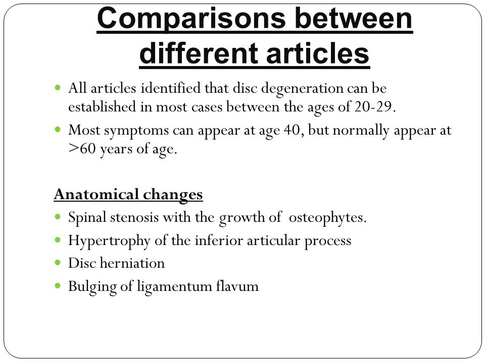 Comparisons between different articles