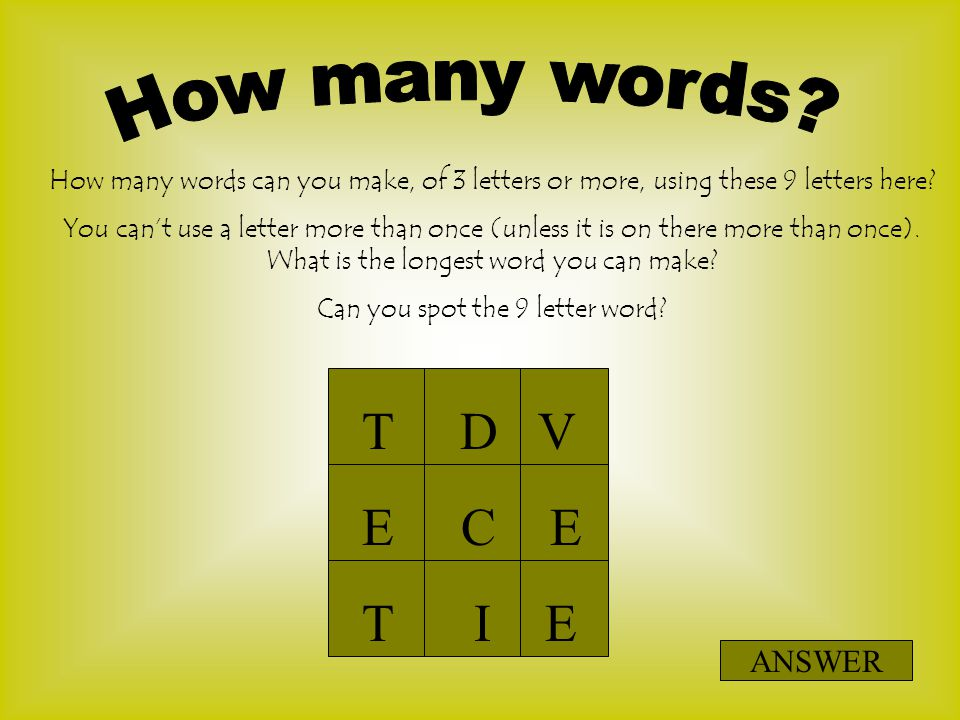 ten letter words can you spot the 9 letter word ppt 1639