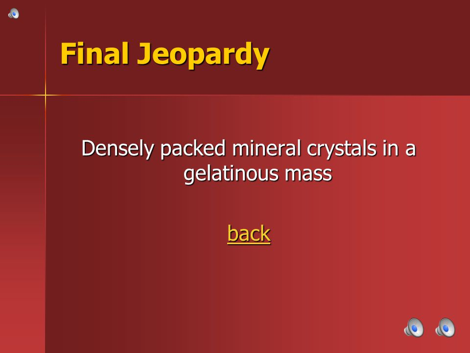 Densely packed mineral crystals in a gelatinous mass